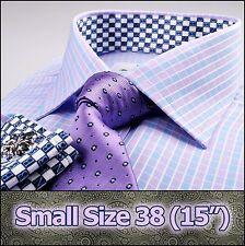 Men's Blue & Pink Formal Business Dress Shirt Plaids & Checks Luxury Size 38 S