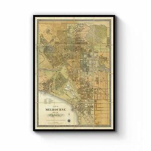 Melbourne Victoria Vintage Map Australia Wall Art Print Poster Framed or Canvas