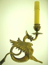 "(2) EARLY 1900'S PAIR OF FRENCH BRONZE GARGOYLE ELECTRIC 10"" LAMPS-SUPER QUALITY"