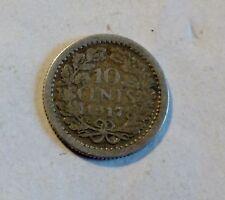 Niederlande / Nederland - 10 Cent -  1917 - Wilhelmina - Silber - ss/ vf-