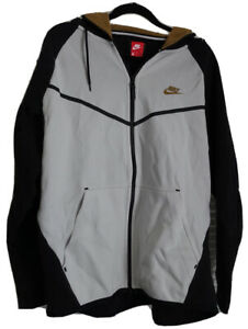 Men's Nike Tech Fleece Hoodie Full Zip Long Sleeve White Black Jacket Size XL