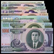 Korea set of 9 to 5000 Won UNC High Face Value (Total 9 Pcs note) Face US $ 6.25