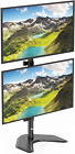 WALI Dual Monitor Desk Stand Free Standing LCD LED Flat Screen TV Holds in 2 up