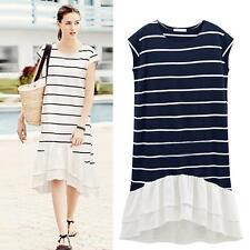 Plus Size Women Summer Loose Casual Dress Chiffon Hem Irregular Striped Dress