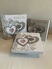 Set Of 3 Large Wedding Day Keepsake Strong Square Storage Boxes Gift Bride/Groom