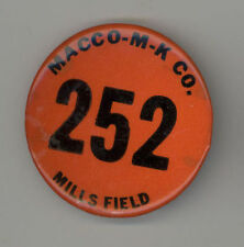 RARE 1940s MILLS FIELD San Francisco Airport SFO Employee BADGE Aviation MACCO