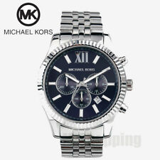 NEW Michael Kors Lexington Silver Navy Blue Dial Chronograph MK8280 Men's Watch