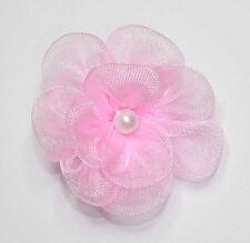 10 X Doppel Organza Blumen Zum Aufnähen Applikationen Farbe: Pink