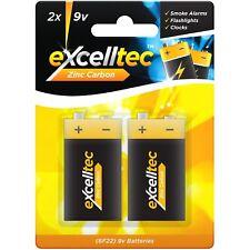 2 x 9V 6F22 Excelltec Super Heavy Duty Zinc Carbon Batteries Smoke Alarm Clock