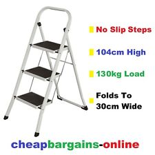 3 STEP LADDER MULTI PURPOSE STEPS DOMESTIC HOUSEHOLD OFFICE FOLDABLE STEEL FRAME