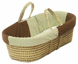 Baby Doll Bedding Minky Dots Moses Basket Chocolate/Sage