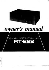 Rotel RT-222 Tuner Owners Instruction Manual
