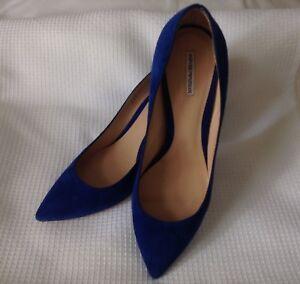 EMPORIO ARMANI LADIES BLUE SUEDE HEELS SIZE 40 , 3.5 INCH HEELS