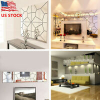 Mirror Tile Wall Sticker Square 3D Crystal Art Decal Home Decoration Stick US