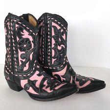 Old Gringo Vintage Black & Pink Leather Appliqué Western Cowgirl Boots