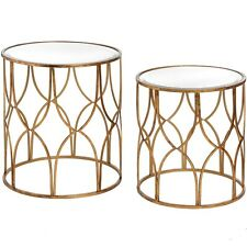 Antiqued Gold Decorative Mirrored Furniture Round Metal Pair Set of 2 Tables
