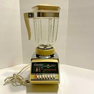 Osterizer Imperial Pulse-Matic 10 SPEED Blender Harvest Gold Glass Pitcher Vtg