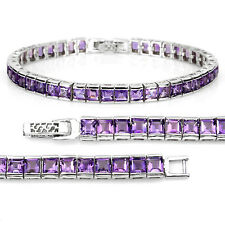 Sterling Silver 925 Square Faceted Genuine Natural Amethyst Bracelet 7.5 Inches