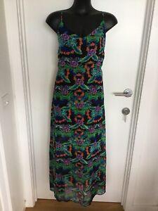 Size 14 Flattering Black Multicolour Floral Print Maxi Dress