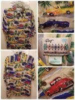 REYN SPOONER Car Hawaiian Shirt Size Large American Classics Roadster Aloha