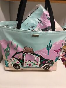 Kate Spade Out of the Office New Horizions Tote Bag & Pouch NEW Free Shipping