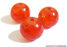 Crackle-Glasperle, 10mm, 30 Stück, orange