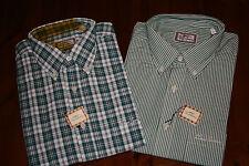 Men's Burberry manches longues vert carreaux + Rayures Chemise Col Boutonné Taille XL