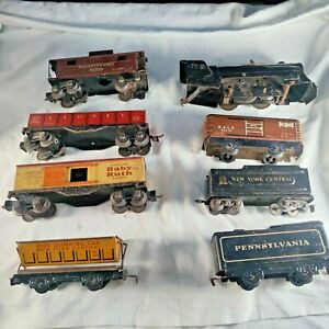 Look! Lot of 8 Lionel Trains and Marx, Cars ! C2-C6  Condition .For repair...