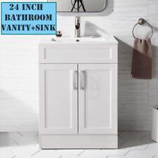 "24"" Bathroom Vanity w/ Vessel Ceramic Sink Set lavatory Cabinet Combo White"