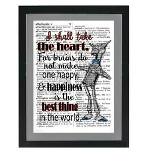 Wizard of Oz Quote Tin Man I Take the Heart Recycled Dictionary Art Print Unique