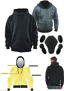 New MENS Motorcycle Hoodie Fully Lined with KEVLAR® Fibre Removale CE armour