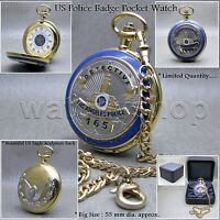 GOLD Antique US Police Badge Mens Quartz Pocket Watch Fob Chain Gift Box C45A