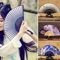 Hand Held Chinese Floral Lace Silk Folding Fan Unisex Wedding Dancing Party Fan