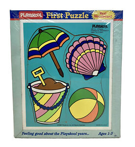 Playskool Woodboard Puzzle Things at the Beach. NEW Sealed 1996