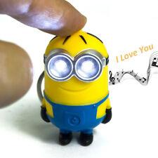 Minions Led Keychain Mini Figure Led flash light 3D Minion Toys Fancy Cute Doll