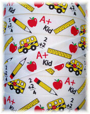 7/8 BE COOL IN SCHOOL GROSGRAIN RIBBON BUS RULER APPLE 4 HAIRBOW BOW