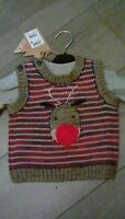 Next Baby Boys Christmas Knitted  Jumper & long sleeved top Set 0-3 Months BNWT