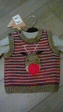 Next Baby Boys Christmas Knitted  Jumper & long sleeved top Set 0-3 Months BNWT*