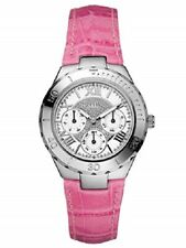 New Authentic Guess Woman PINK leather Strap Multi function Watch U95149L3  NWT