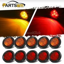 5 Amber + 5 Red 2'' Round Side Marker Trailer Led Clearance Light 4LED w/ Reflex