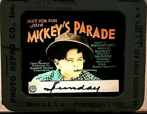 """MICKEY'S PARADE"", MICKEY ROONEY 1926 , ORIGINAL COLOR GLASS SILENT MOVIE SLIDE"