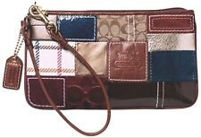 Coach Signature Multi-color Patchwork Wristlet Suede/Canvas/Leather Pre-owned