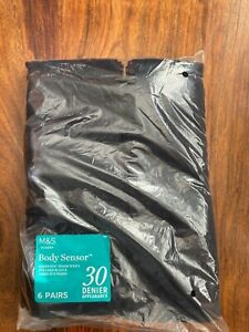 BNIP M&S 6 pack ladies Body Sensor 30 denier navy opaque tights - Medium