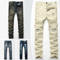Men's Skinny Biker Jeans Destroyed Slim Fit Denim Ripped Pencil Pants Trousers