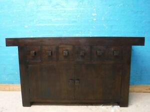 SOLID WOOD DARK 6 DRAWER SIDEBOARD H86 W160 D45cm --MORE ITEMS LISTED ON EBAY