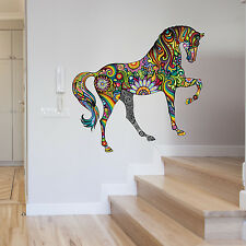 LARGE ABSTRACT COLOUR FLORAL HORSE ANIMAL WALL STICKER VINYL TRANSFER MURAL