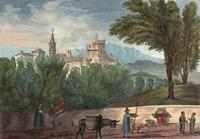 NEPI ITALY Watercolour Painting ELIZABETH CAMPBELL 1824 - GRAND TOUR