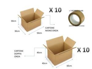 10 Scatola spedizione 400 x 390 x 155 lembi 2 ondulata k8 trasloco imballaggio cartone