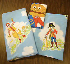 McDonald's Vintage Twin Size Sheet Set Fitted Flat & Pillowcase Bedding 1978