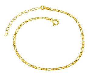 Damen Fußkettchen Figarokette 925 Sterling Silber vergoldet 2,3mm 20-25cm Anklet